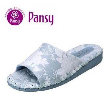 【Pansy】淑女手工厚底氣質款防水室內拖鞋9383-藍色