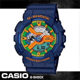 【CASIO 卡西歐 G-SHOCK 系列】鮮豔搶眼潮流時尚雙顯錶(GA-110FC 藍)