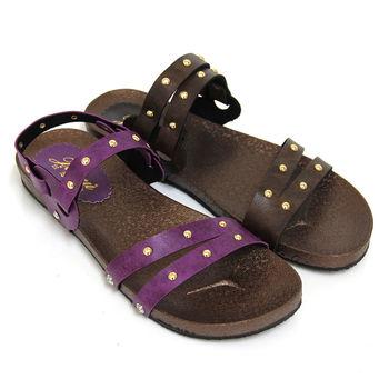 【Pretty】經典百搭鉚釘平底涼拖鞋-紫色、咖啡色
