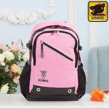 【UNME】休閒後背包 電腦後背包 書包(粉色3231)