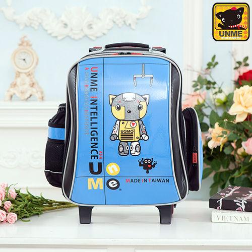 【UNME】機器人鏡面拉桿書包 附包包雨衣(藍色3308C)
