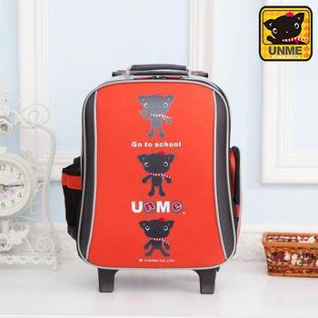 【UNME】減壓省力拉桿書包 附包包雨衣(LOGO橘色3308)