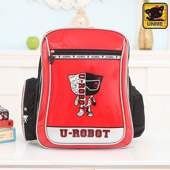【UNME】中高年級 帥氣LOGO機器人護脊書包(紅色3233)