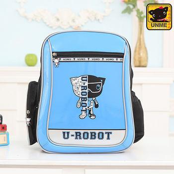【UNME】中高年級 帥氣LOGO機器人護脊書包(水藍3233)