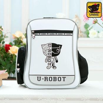 【UNME】中高年級 帥氣LOGO機器人護脊書包(白色3233)