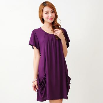【維拉森林中大尺碼】紫色圓領荷葉水晶麻洋裝