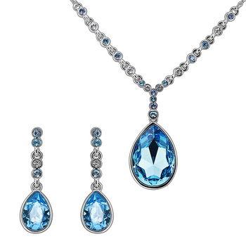 【CDE】施華洛水晶元素藍色水滴(項鍊耳環特惠組)