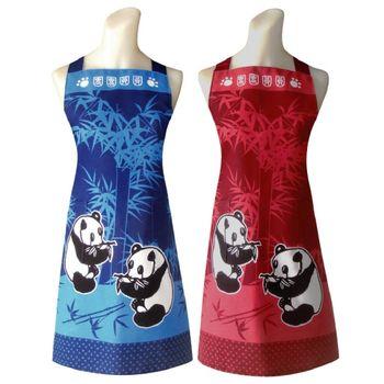 熊貓兩口袋圍裙(藍/紅)二入任組C571