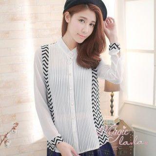 【魔法拉拉】幾何拼接小立領襯衫A260(時尚白)