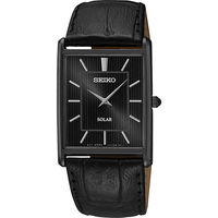 SEIKO SOLAR 太陽能城市風尚方型腕錶 ^#45 黑 ^#47 28mm V115