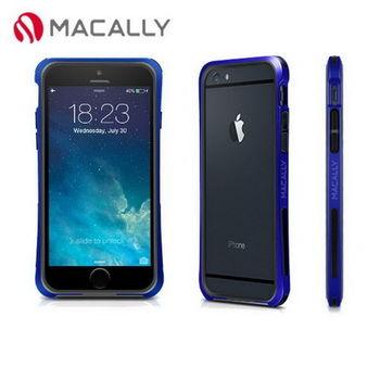 【Macally】iPhone 6(4.7)防摔金屬質感邊框-藍(IRONP6MBL)