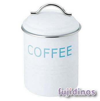 Fujidinos【復古風格】經典鐵製收納罐(白色/咖啡豆)