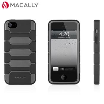 【Macally】iPhone 5/5S多功能腰夾站立式保護套-黑灰(TANK5G)