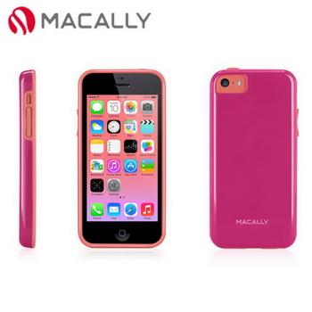 【Macally】iPhone 5C絢麗雙色軟質TPU保護套殼-桃紅(FLEXFITP6P)