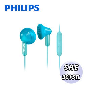 PHILIPS 飛利浦 手機用耳塞式耳麥SHE3015TL(藍綠色)