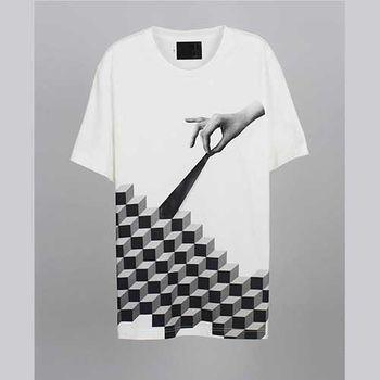 【摩達客】韓國進口EXO合作設計品牌DBSW Cube Leak立方體白色純棉短T短袖T恤時尚潮T