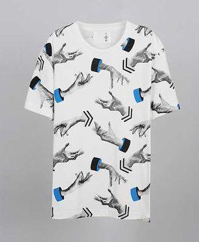 【摩達客】韓國進口EXO合作設計品牌DBSW Hand Drops手掉了白色 純棉短T短袖T恤時尚潮T
