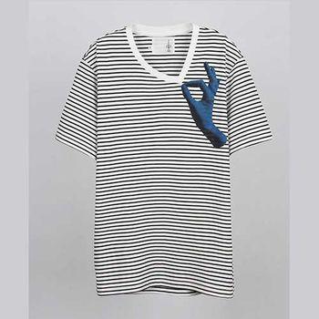 【摩達客】韓國進口EXO合作設計品牌DBSW Dont Drag 別拉橫紋短T短袖T恤時尚潮T