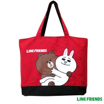 【LINE FRIENDS】MIT休閒托特包(C款_紅_戀愛款)