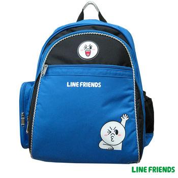 【LINE FRIENDS】MIT成長型護脊雙層書背包(B款_饅頭人)