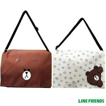 【LINE FRIENDS】MIT躲貓貓無辜熊大側背包(大-咖/米)