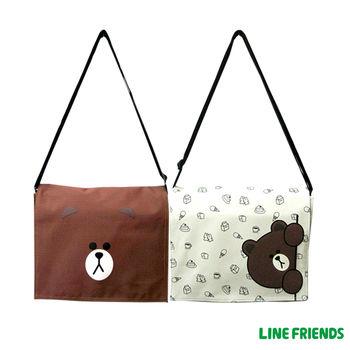 【LINE FRIENDS】MIT躲貓貓無辜熊大側背包(中-咖/米)