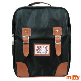 【Miffy 米飛】護脊超輕巧後背書背包(黑)