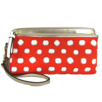 COACH poppy 系列點點雙拉鍊手拿包(紅)-49941