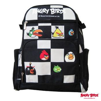 【Angry Birds 憤怒鳥】格子昇華造型護脊書背包(黑)
