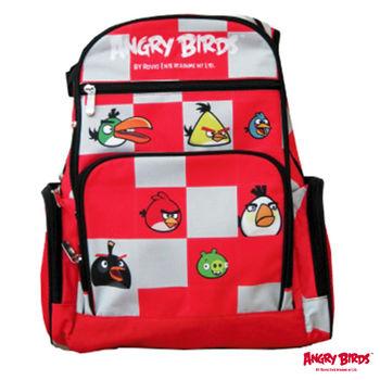 【Angry Birds 憤怒鳥】格子昇華造型護脊書背包(紅)