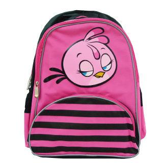 【Angry Birds 憤怒鳥】造型條紋護脊書背包(B2款_桃_Stella)
