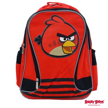 【Angry Birds 憤怒鳥】造型條紋護脊書背包(A2款_紅_憤怒鳥)