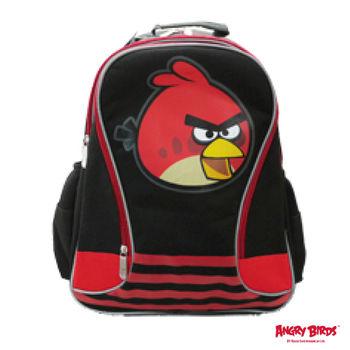 【Angry Birds 憤怒鳥】造型條紋護脊書背包(A1款_黑_憤怒鳥)