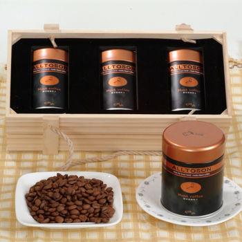 《山海觀咖啡莊園》麝香蜜咖啡豆150gx3罐(木質禮盒)1組
