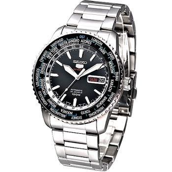 SEIKO 盾牌5號24石世界時間GMT機械錶(黑面)SRP127J1