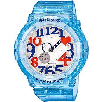 CASIO BABY-G 粉嫩甜美個性彩漾霓虹休閒錶-藍BGA-131-2BDR