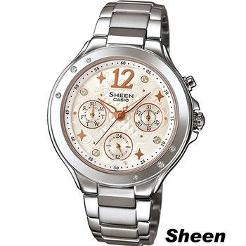 CASIO SHEEN 繽紛之美時尚腕錶 SHE-3032D-7A 白