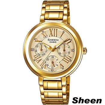 CASIO Sheen 金色年華 時尚腕錶 SHE-3034GD-9A 金色