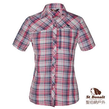 【聖伯納 St.Bonalt】女款3M速乾排汗彈力短袖格子襯衫(4058)