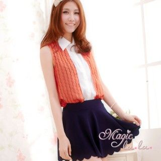 【魔法拉拉】波紋撞色襯衫背心A018(亮麗橘)