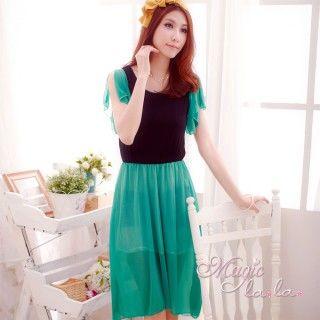 【魔法拉拉】韓系撞色雪紡洋裝A015(魅力湖藍)