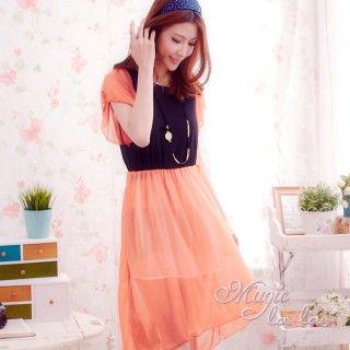 【魔法拉拉】韓系撞色雪紡洋裝A015(時尚亮橘)