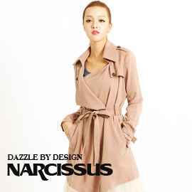 [NARCISSUS]TENCEL天絲棉垂綴感翻領綁帶長大衣煙燻粉-S-M