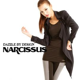 [NARCISSUS] TENCEL天絲棉垂綴感翻領綁帶長大衣深藍-S-M