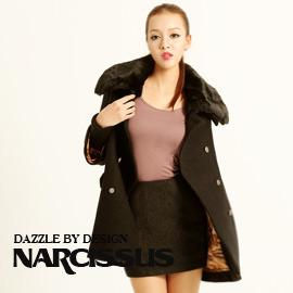 [NARCISSUS] 可拆式毛領 長版斗篷羊毛大衣 黑色-S