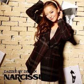 [NARCISSUS]冬季必備款 長版合身羊毛西裝大衣 經典格紋-S-M