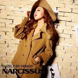 [NARCISSUS]可拆式毛領 長版斗篷羊毛大衣 駝色-S