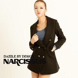 [NARCISSUS]冬季必備款 長版合身羊毛西裝大衣黑色S-M