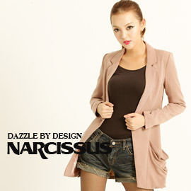 [NARCISSUS]TENCEL天絲棉寬鬆感長版西裝外套 煙燻粉S-M