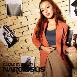 [NARCISSUS]TENCEL天絲棉窄版合身單釦西裝外套珊瑚桔-S-M